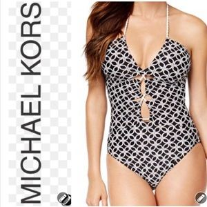 NWT Michael Kors Shirred Keyhole Geo Swimsuit